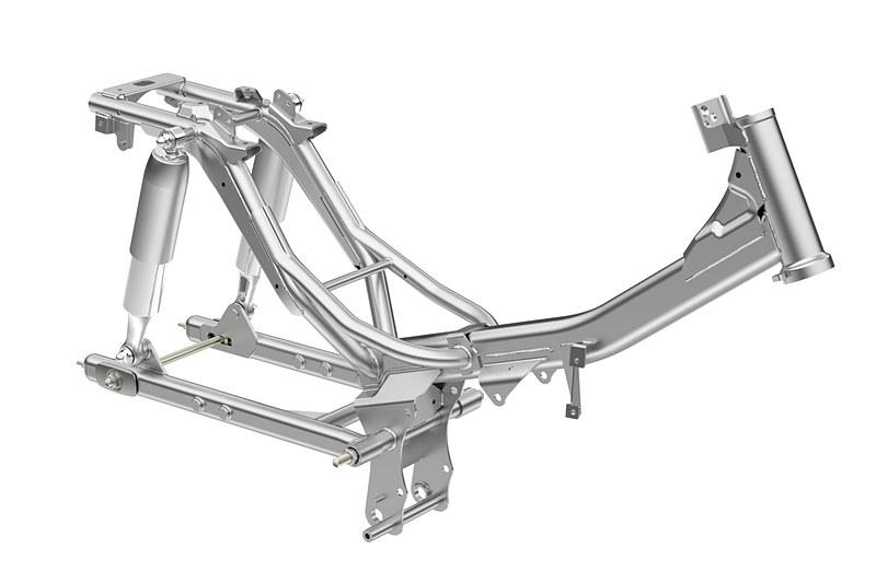 独自の「S字シルエット」が与えられたボディでは、125ccクラスのエンジンに対応する高剛性のフレームを採用