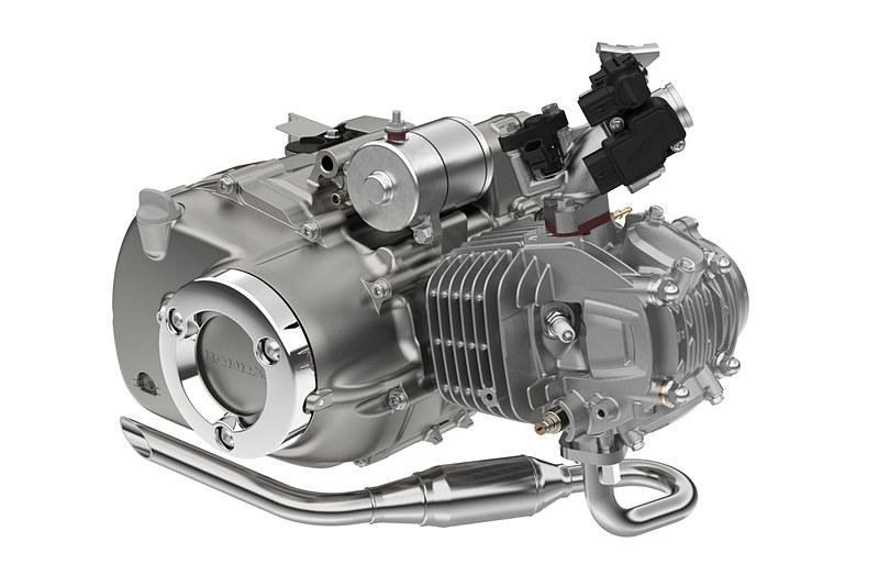 最高出力7.1kW(9.7PS)/7500rpm、最大トルク10N・m(1.0kgf・m)/5000rpmを発生する単気筒OHCの「JA48E」型空冷エンジン