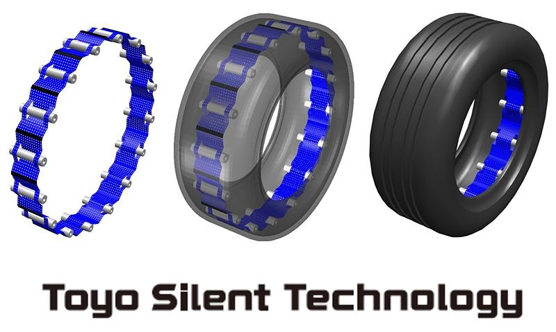 新技術「Toyo Silent Technology(トーヨーサイレントテクノロジー)」で開発された「タイヤ空洞共鳴音」を低減するデバイス