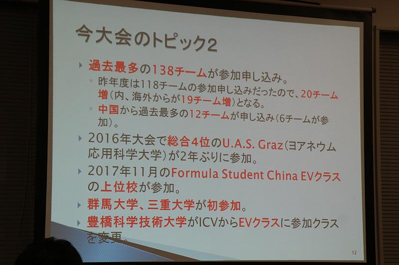 今大会で群馬大学と三重大学が初参加。豊橋科学技術大学はICVクラスからEVクラスにクラス変更している