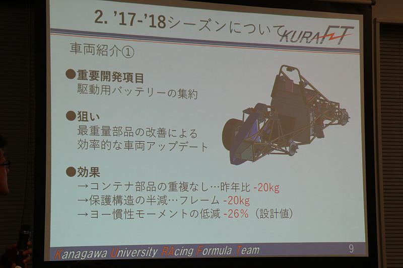 従来型でコックピットの両サイドに分けて搭載したバッテリーをコックピット後方にレイアウト変更。大幅な軽量化と走行性能の向上を果たしている