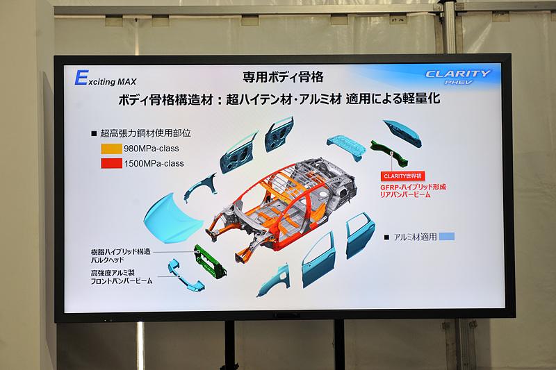 ボディは超高張力鋼板やアルミなどに加え、GFRPハイブリッド形成リアバンパービームを採用