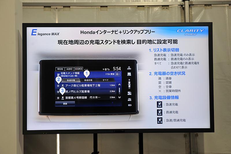 ホンダインターナビ+リンクアップフリーを搭載して、現在地周辺の充電スタンドを検索可能