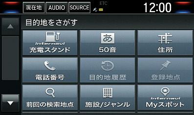 充電スタンド検索機能の目的地検索画面