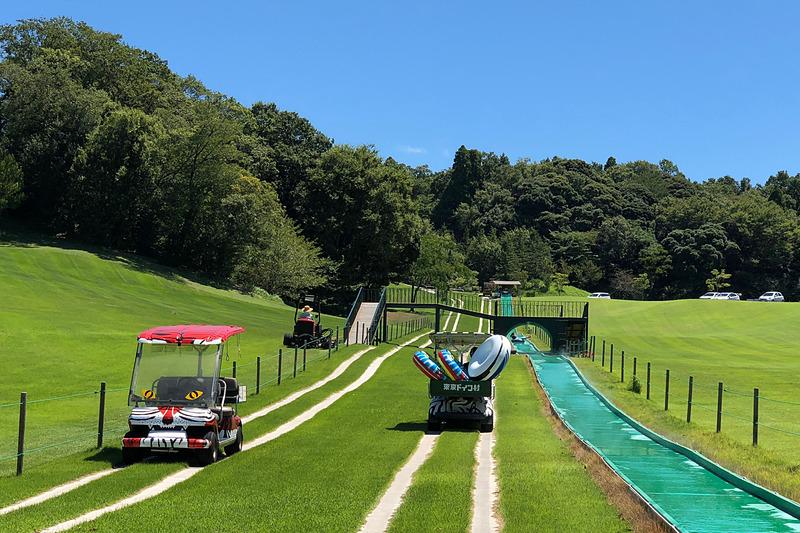 ゴルフ場などで使われている電動カートを楽しい動物たちの模様にペイントし、無人で自動的にスライダーのスタート地点からゴール地点を往復するように設定された「バッサースライダー220」の電動カートは、見ているだけで楽しい乗り物です