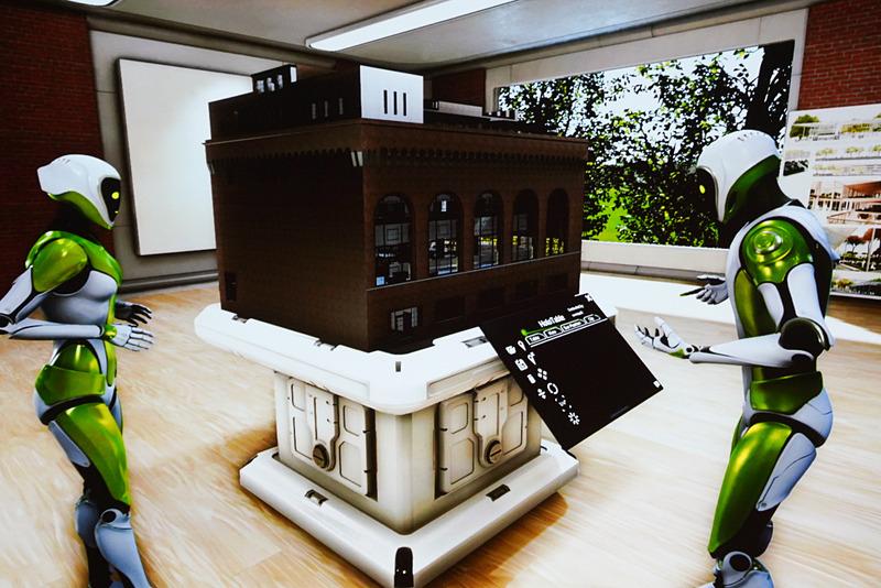ホロテーブルという建築の模型が置かれている