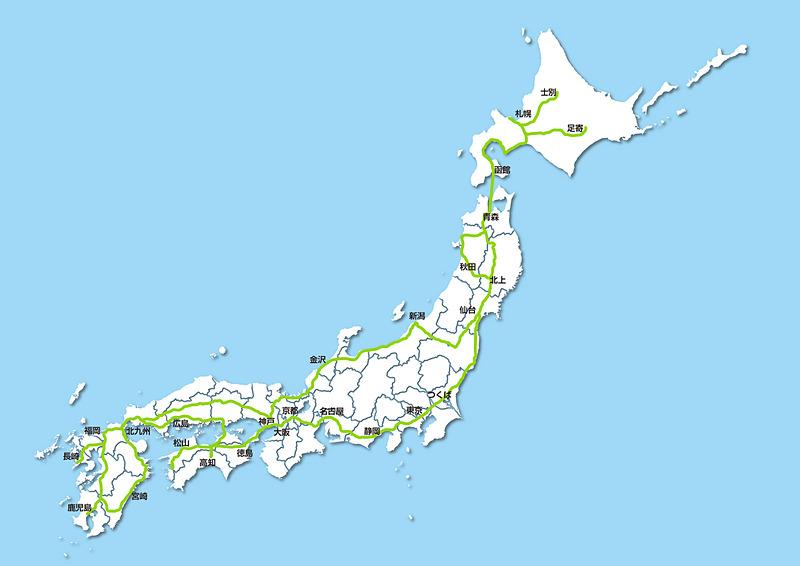 Cruise4U「ハンズオフジャパンツアー」ルート