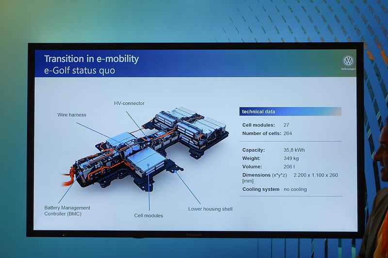 e-ゴルフのバッテリーシステム。容量は35.8kWh、システム全体の重量は349kg
