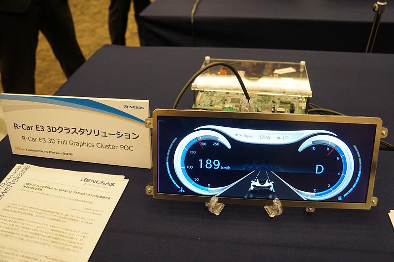 3Dグラフィックスクラスタを実現する「R-Car E3」のデモ