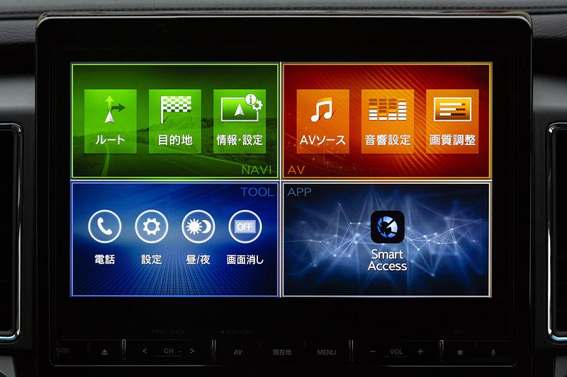 10.1型ナビゲーションはHDディスプレイを採用し、4分割画面表示が可能