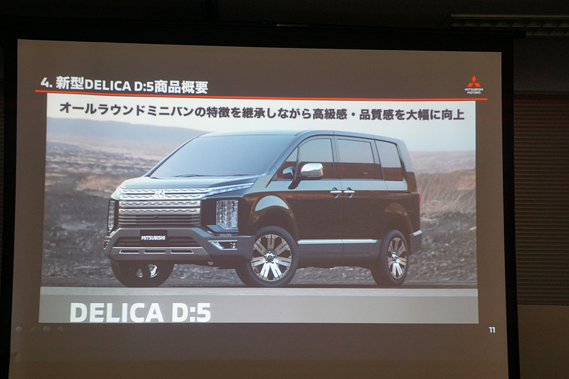 新型「デリカD:5」の商品概要を紹介するスライド