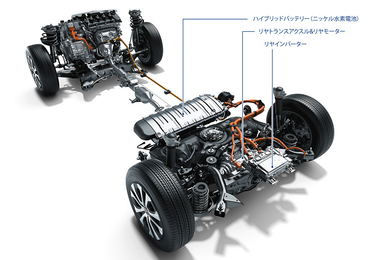 パワートレーンの解説。車両重量の増加によってEグレードのJC08モード燃費が40.8km/Lから39.0km/Lに変更された