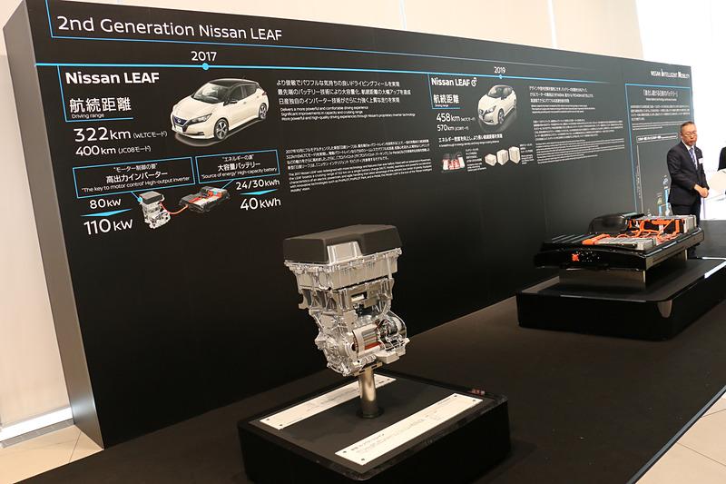会場となった日産グローバル本社ギャラリー内には、これまでにリーフで使われてきたe-パワートレーンのモーターやバッテリーなどを展示。左は初代リーフ、右は2代目リーフ