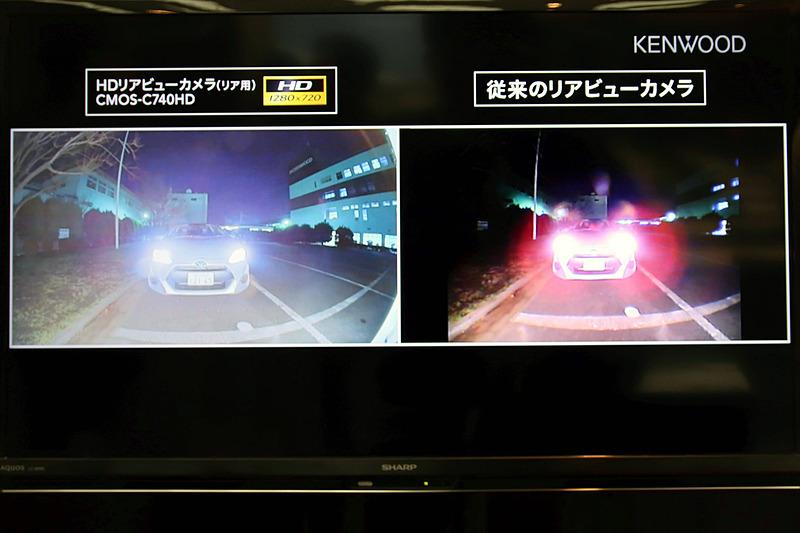 従来のリアビューカメラとCMOS-C740HDの比較映像。夜間でもクリアに後方が表示されている