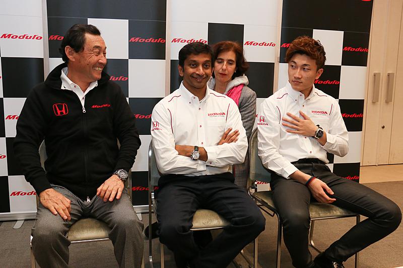 発表会に参加した「Modulo Nakajima Racing」の3人
