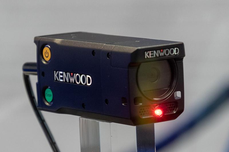 CESに展示されたケンウッドのSUPER GT向け車載カメラ。同時期に日本で開催されていた東京オートサロンにも同様のものが開発中として展示されていた