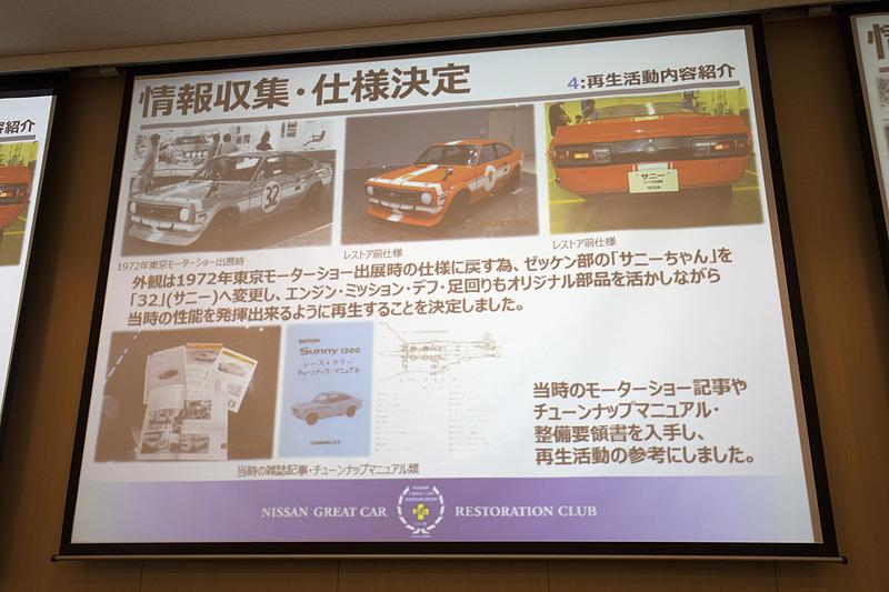 作業に入る前に情報収集と仕様の決定という作業があった。東京モーターショー出展時と座間記念庫にあった状態ではゼッケン部のデザインが異なっていた。エンジン、トランスミッション、足まわりは当時の部品を最大限使って走行できる状態にすることに決まった