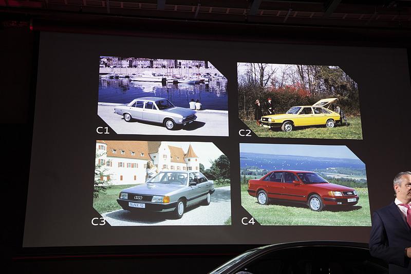 アウディ100とA6の歴史がスクリーンに紹介された