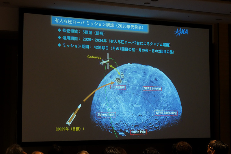 """若田氏のプレゼン資料。""""TEAM JAPAN""""で行なう国際宇宙探査ミッションでは、5か所で有人与圧ローバを用いながら有人走行による探査を行ない、それ以外の場所では自動運転機能を使って1万kmの月面走行を目指す"""