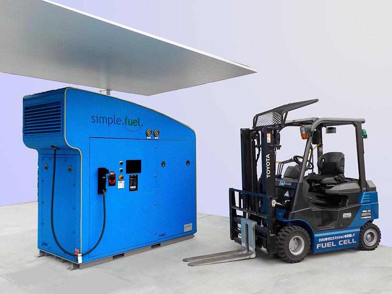 小型の水電解式水素発生充填装置「SimpleFuel(シンプルフューエル)」とFCフォークリフト