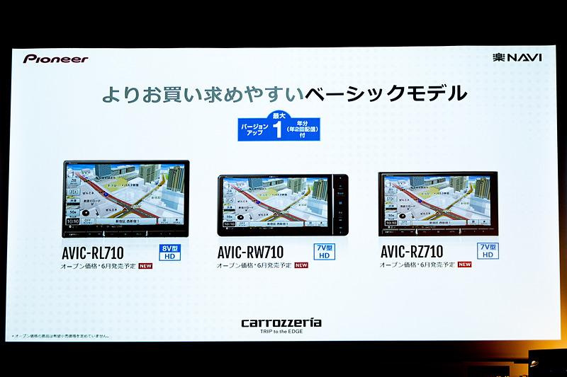ベーシックモデルとなる710シリーズは地図更新1年無料。機能面は910シリーズと同じ