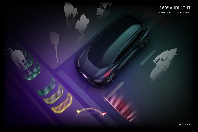 AI:MEでは前後のフェンダー上側などに設置したライトを使い、他の道路ユーザーとのコミュニケーションを可能とする
