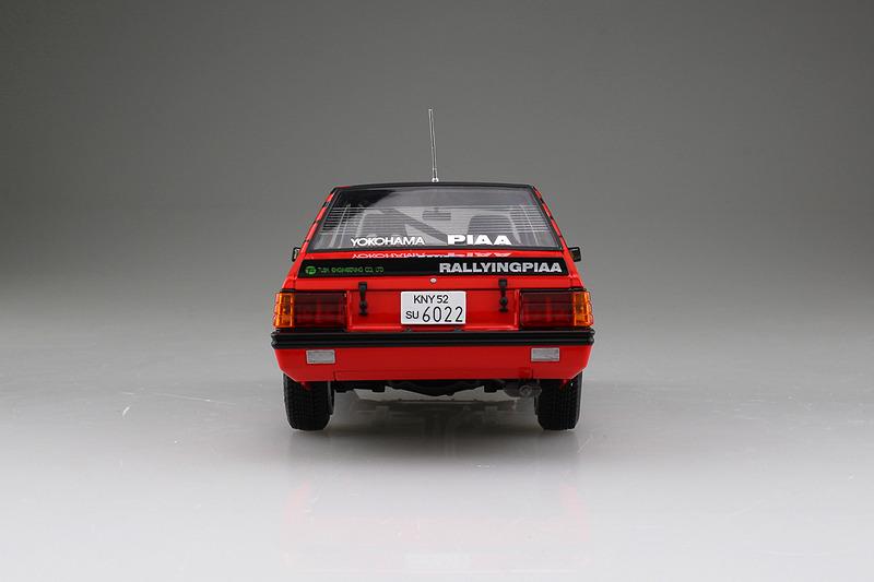 1/24 三菱 ランサーターボ '84 RACラリー仕様。製品写真は試作品を組立・塗装済み。実際の商品とは異なる場合もある