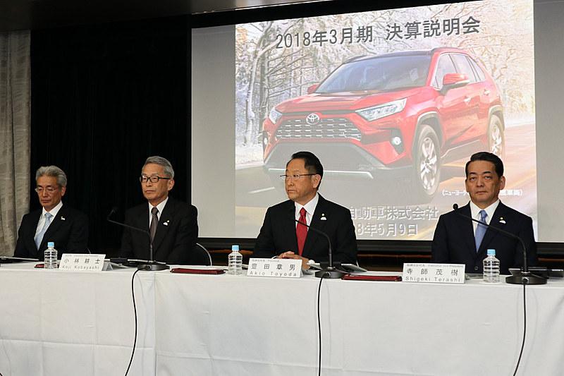 決算説明会には2018年の通期決算説明会と同じく、豊田章男社長、小林耕士副社長、寺師茂樹副社長、白柳正義執行役員の4人が出席する予定
