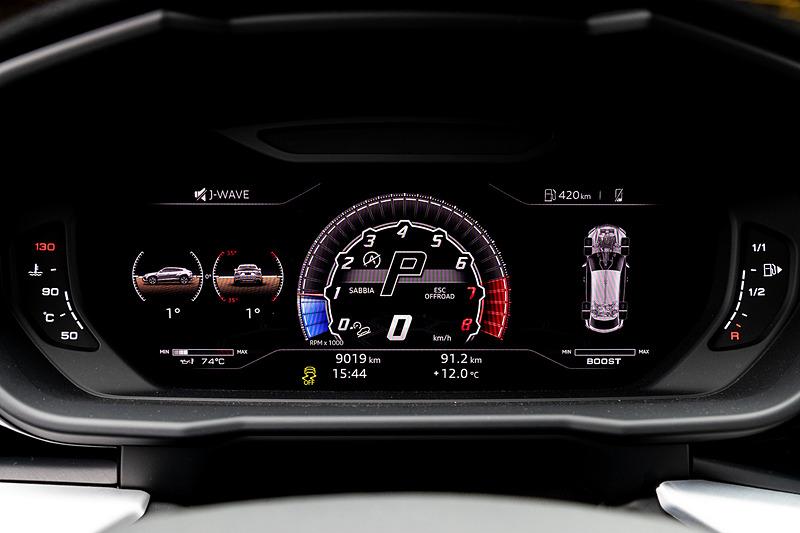 走行モードをオフロード系にすると前傾や左右のアングルなども表示