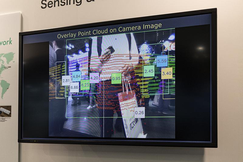 カメラとLiDARの組み合わせによる認識イメージ。数字は対象物までの距離