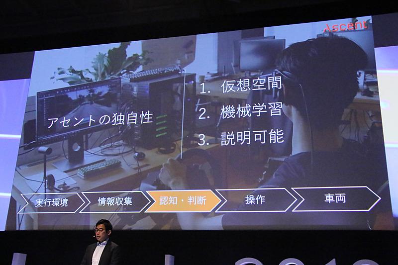アセントロボティクスの自動運転技術開発では、「仮想空間」「機械学習」「説明可能性」を自社の独自性として取り組んでいる
