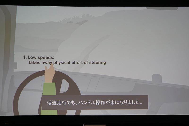 「VDS(ボルボ・ダイナミックステアリング)」の特徴を紹介するスライド