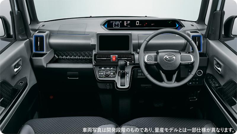 新型タント カスタム RSのインパネイメージ(左)とシート(右)