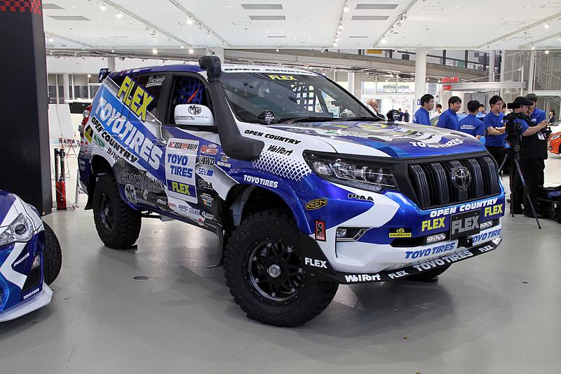 FLEX SHOW AIKAWA Racing with TOYO TIRESが使用する2019年のアジアンラリー参戦車「TOYOTA LANDCRUISER 150 PRADO Rally spec」