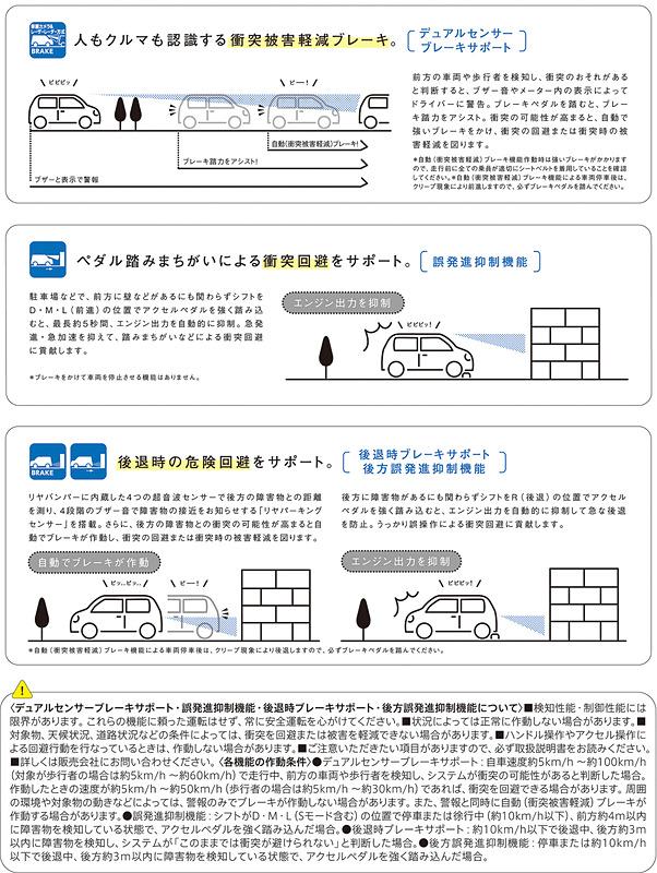 衝突被害を軽減する「デュアルセンサーブレーキサポート」や「誤発進抑制機能」「後退時ブレーキサポート」