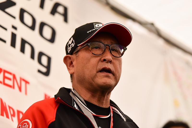 TOYOTA GAZOO Racingの決起集会であいさつする、チーム代表モリゾウ選手(豊田章男氏)