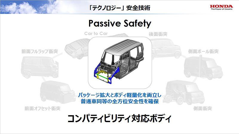 パッケージ拡大とボディ軽量化を両立し、普通車同等の全方位安全性を確保する「コンパティビリティ対応ボディ」