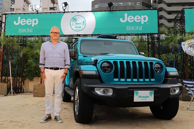 限定車「ラングラー・アンリミテッド・ビキニ・エディション」とFCAジャパン株式会社 代表取締役社長 兼 CEOのポンタス・ヘグストロム氏