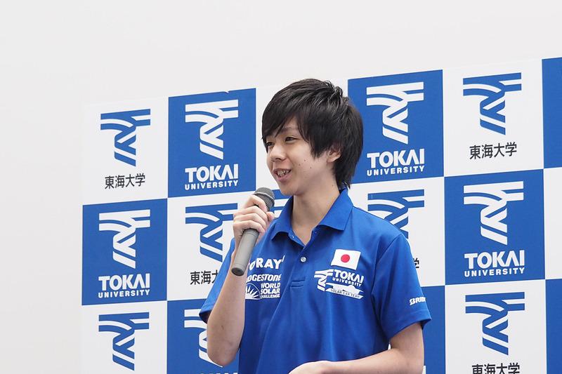ソーラーカーチーム学生代表の工学部 動力機械工学科4年の武藤創(あらた)氏
