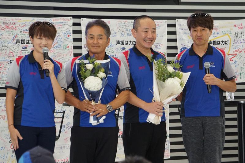 左からMCの一戸恵梨子氏、辰己英治総監督、沢田拓也監督、ゲスト解説の松田晃司選手