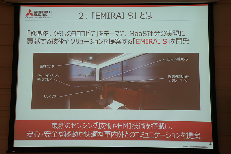 EMIRAI Sでは「将来的なMaaS社会」で求められる新しい機能を実現するため、三菱電機が開発を進めているセンシング技術、HMI技術などについて紹介
