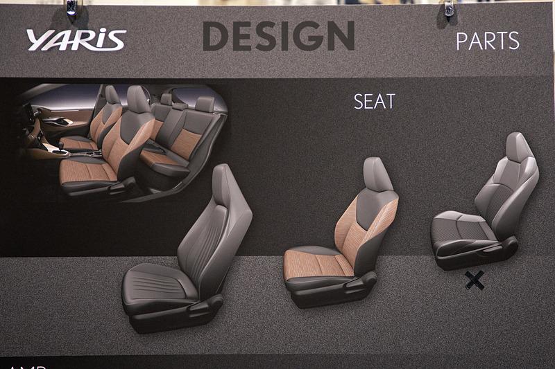 シートは3タイプのイメージがあったが、一番スポーティに見える右のシートは現時点では採用されないとのこと