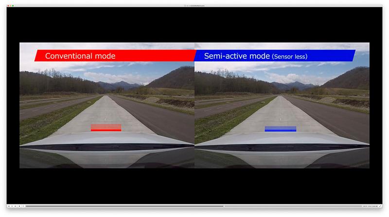 クルマの動きの違い。右が高性能セミアク装着車。ストローク量が異なる、つまりダンパーの抑制量が異なるのが分かる