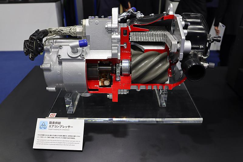 FCVの発電用に必要な空気を吸引・圧縮する「酸素供給エアコンプレッサー」