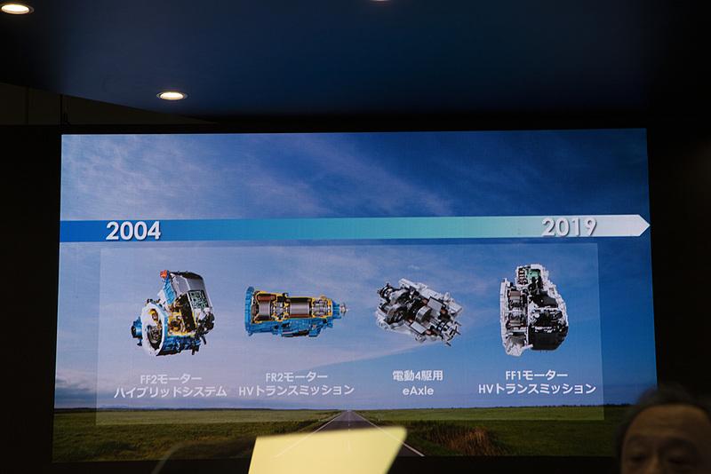 アイシングループは、部品メーカーとして初めてハイブリッドシステムを送り出して以降も、さまざまな電動化製品をリリースしている