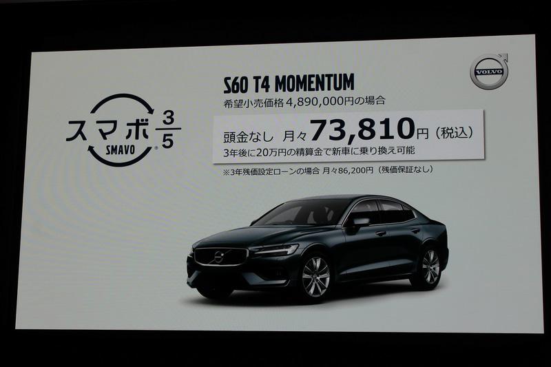 スマボ3/5ではS60 T4 モメンタムの場合、頭金なしで月々7万3810円