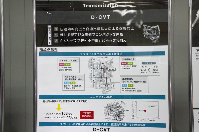 新型タントに使われているD-CVTを搭載。スプリットギヤを採用したダイハツ独自の機構を持つトランスミッションで、サイズもコンパクトになっている