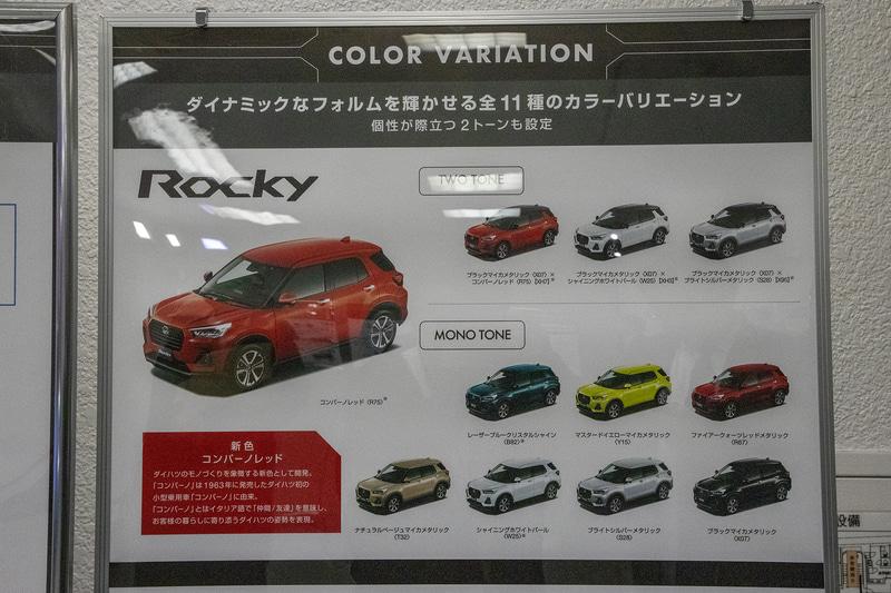 ボディカラーの説明。ロッキーの訴求色はコンパーノレッド。モノトーンは8色で、ルーフがブラックマイカメタリック塗装になる2トーンは「コンパーノレッド」「シャイニングホワイトパール」「ブライトシルバーメタリック」の3色に用意される