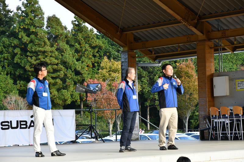 開発者トークショーその2。左から商品企画本部長 阿部一博氏、第二技術本部 副本部長 小倉明氏、商品企画本部 WRX STI担当 PGM 五島賢氏。五島氏が2人から突っ込まれていた