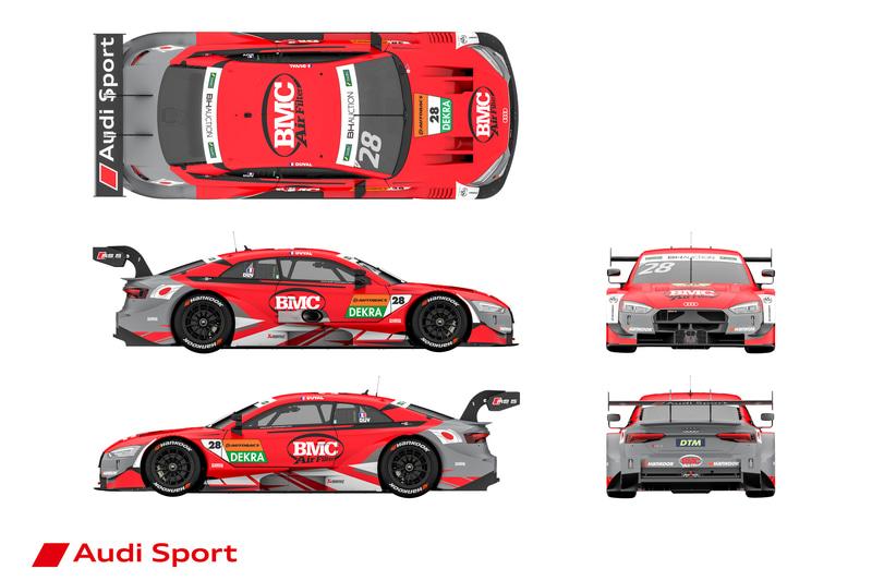 ロイック・デュバル選手の参戦マシンはレッドの「BMC Airfilter Audi RS 5 DTM」